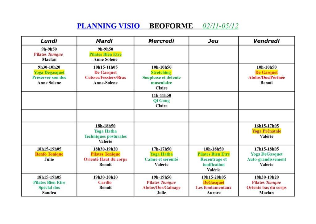 Planning Visio Confinement